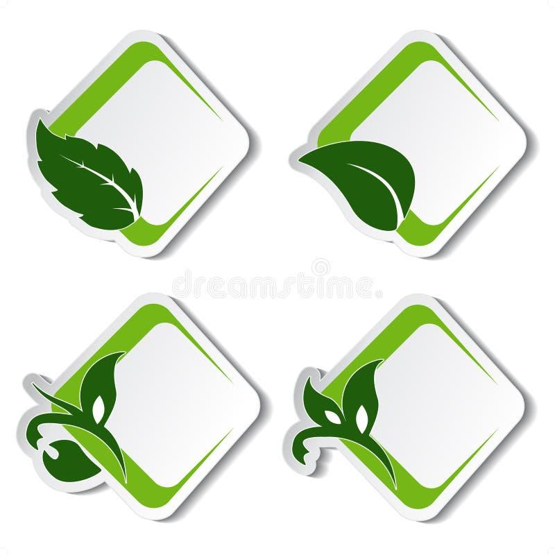 naturliga etiketter för leaf royaltyfri illustrationer