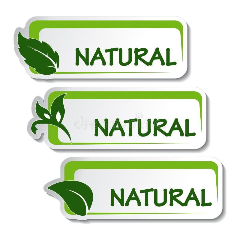 naturliga etiketter för leaf stock illustrationer