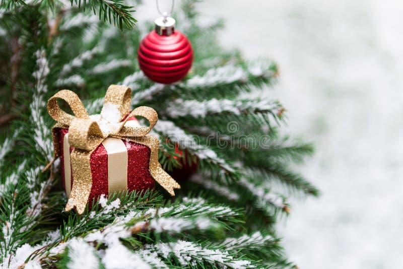 Naturliga fruncher för granträd som täckas med snö, julbegrepp arkivbild