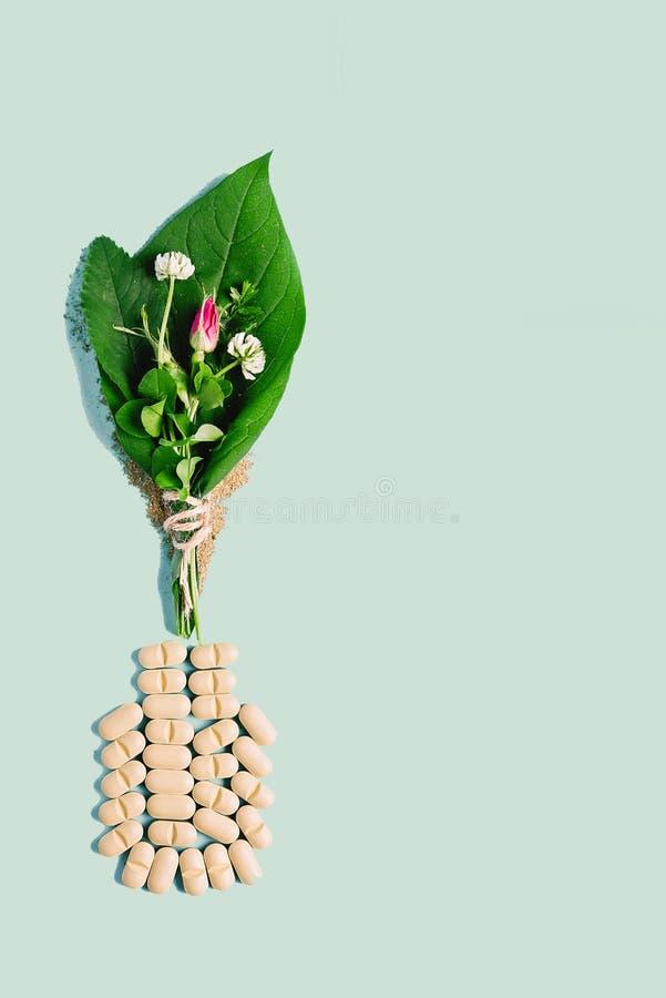 Naturliga grönsakpreventivpillerar, tillsats, grönt blad och flaska Begreppet av naturlig och växthälsa royaltyfri fotografi