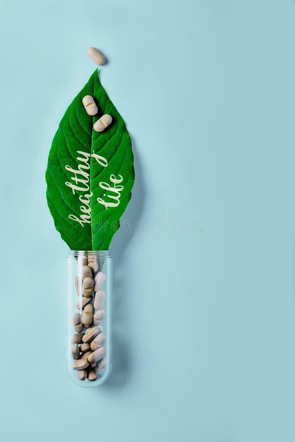 Naturliga grönsakpreventivpillerar, tillsats, grönt blad och flaska Sund livsstil och förhindrande av kardiovaskulära sjukdomar royaltyfria foton