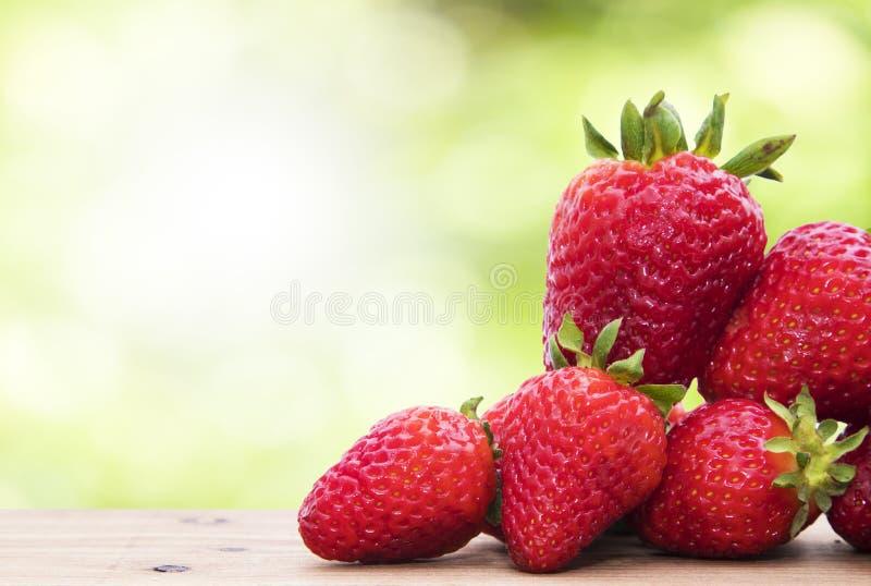 Naturliga jordgubbar med naturlig gr?splan fotografering för bildbyråer