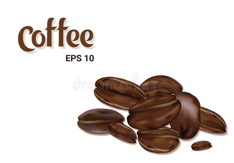 Naturliga kaffebönor som isoleras på vit bakgrund royaltyfri illustrationer