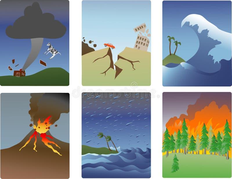 naturliga katastrofminiatyrer royaltyfri illustrationer