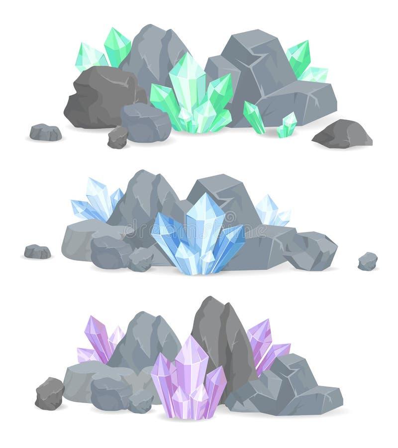 Naturliga kristaller samla i en klunga i fast stenuppsättning royaltyfri illustrationer