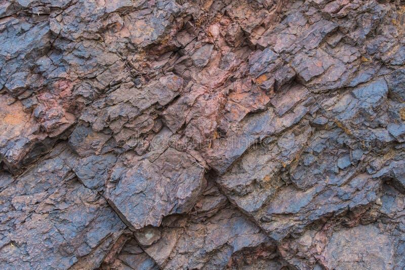 Naturliga mineraler för järnmalmtexturslut upp - i minen Stentextur av den öppna gropen Extraktion av mineraler för skurkroll royaltyfria foton