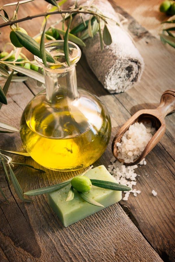 naturliga olive produkter som ställer in brunnsorten royaltyfri foto