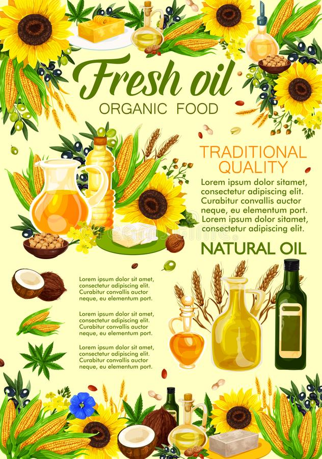 Naturliga olja-, grönsak- och växtingredienser vektor illustrationer