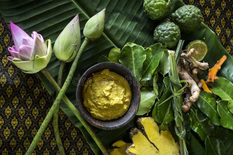 Naturliga organiska produkter i asiatisk skönhetbrunnsort royaltyfri fotografi