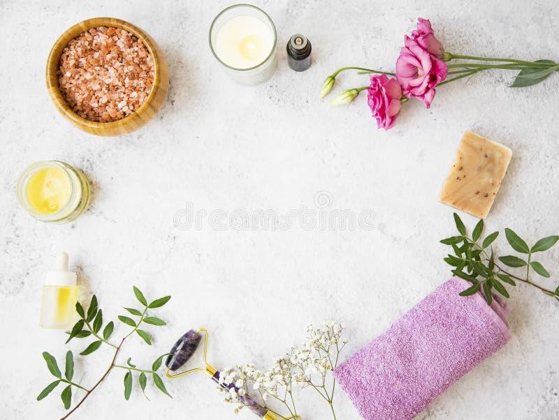 Naturliga organiska skincareprodukter på konkret bakgrund, bästa sikt med kopieringsutrymme, grön naturlig skincare och skönhetom fotografering för bildbyråer