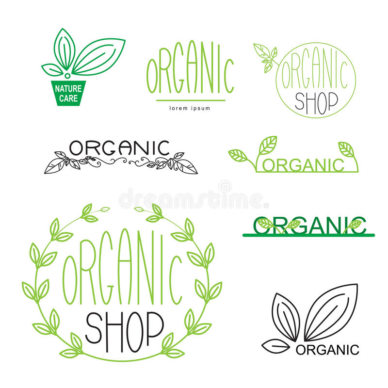 Naturliga, organiska, strikt vegetarianemblem och logoen planlägger royaltyfri illustrationer