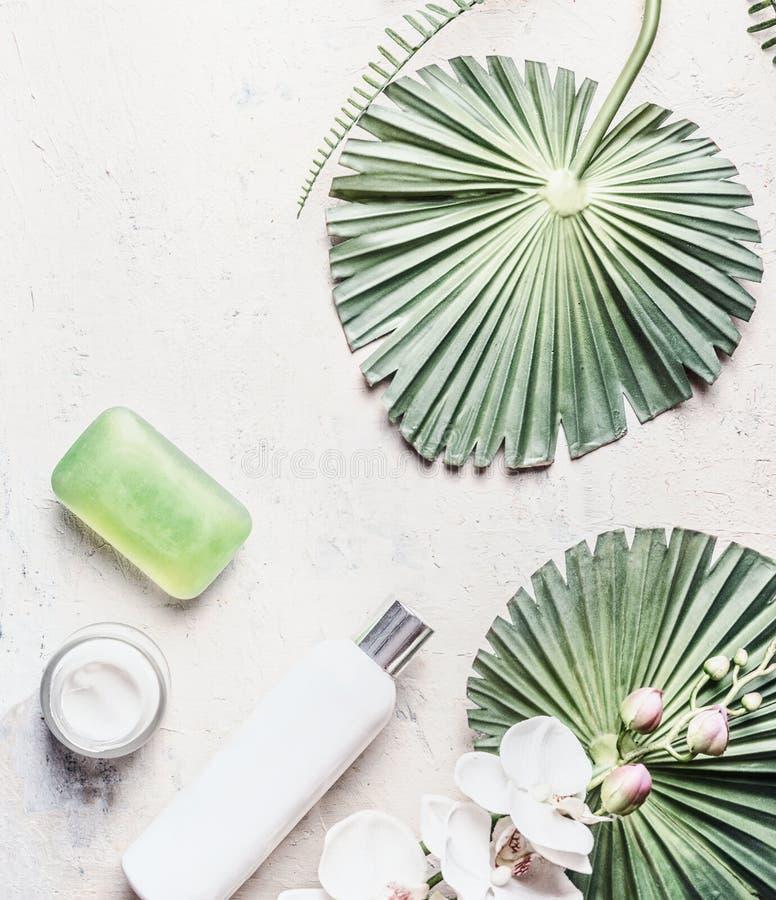 Naturliga produkter för hudomsorg: flaskor, tvål och kräm på ljus bakgrund med tropiska sidor och blommor, bästa sikt Lekmanna- l arkivfoton