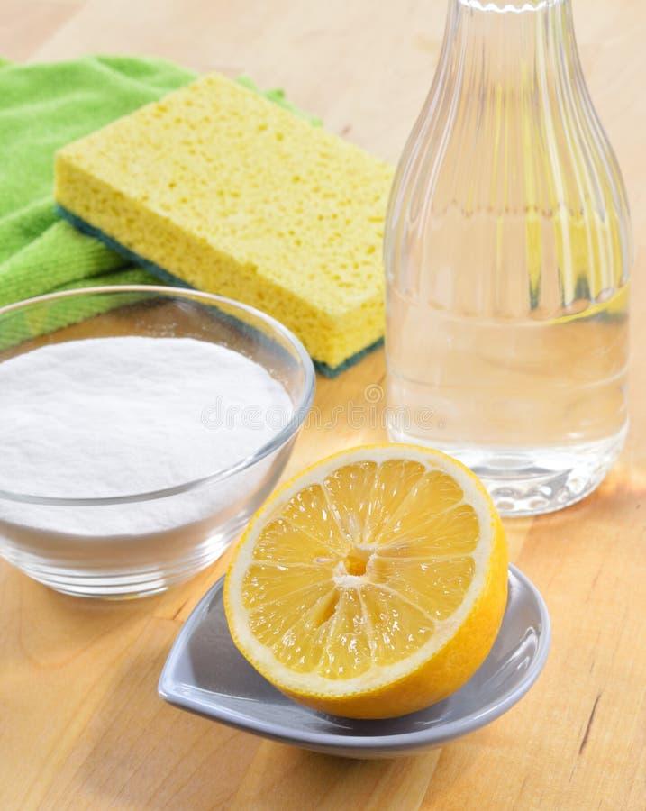 Naturliga rengöringsmedel. Vinäger natriumbikarbonat, saltar och citronen. royaltyfri fotografi