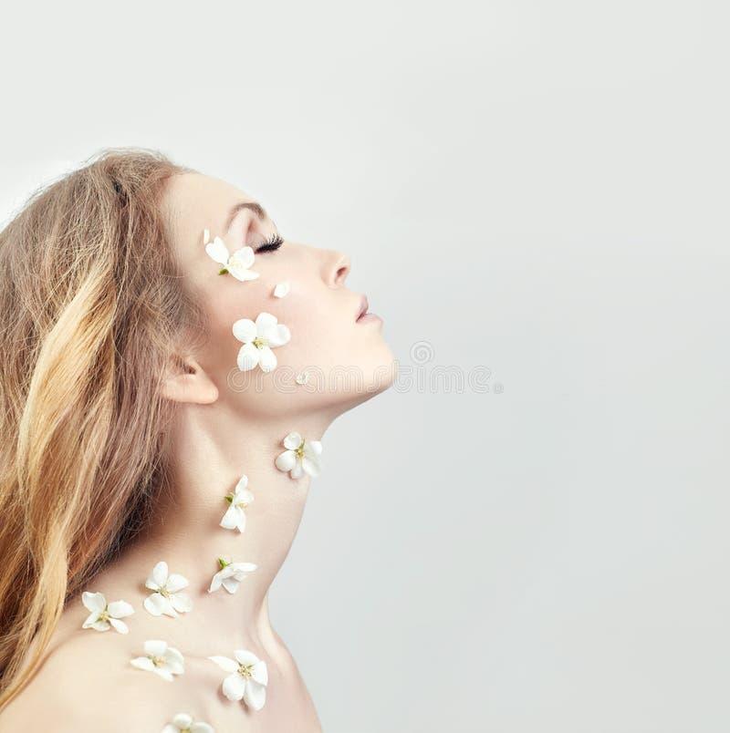 Naturliga skönhetsmedel för framsida, hudomsorg, hydration och hudnäring Spa, ren och naturlig framsidarengöringsmedel för akne o arkivbild