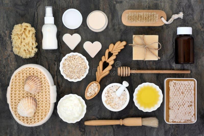 Naturliga Skincare och kroppomsorgprodukter arkivbilder