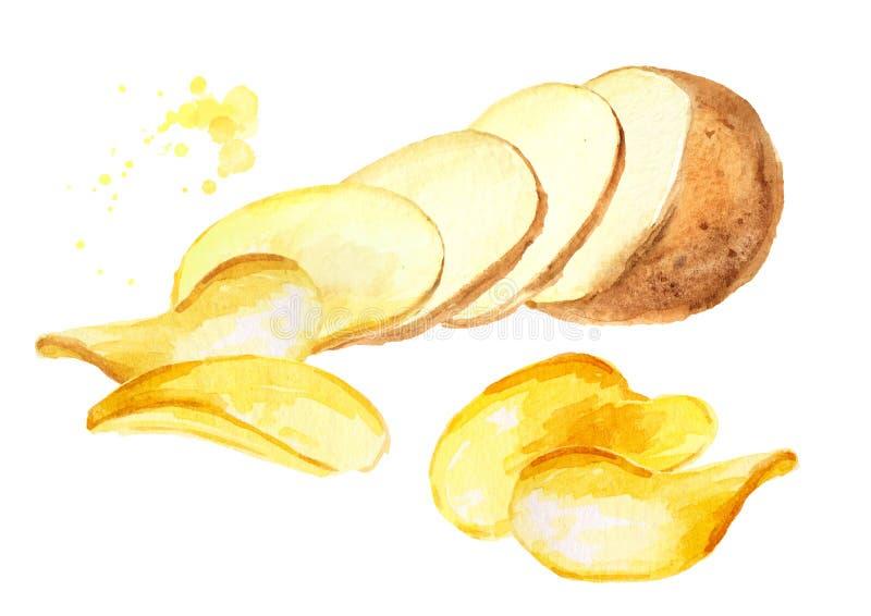 Naturliga skivor f?r r? potatis som v?nder in i chiper Dragen illustration f?r vattenf?rg som hand isoleras p? vit bakgrund stock illustrationer