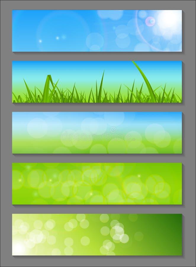 Naturliga Sunny Backgroundc Banner Vector stock illustrationer