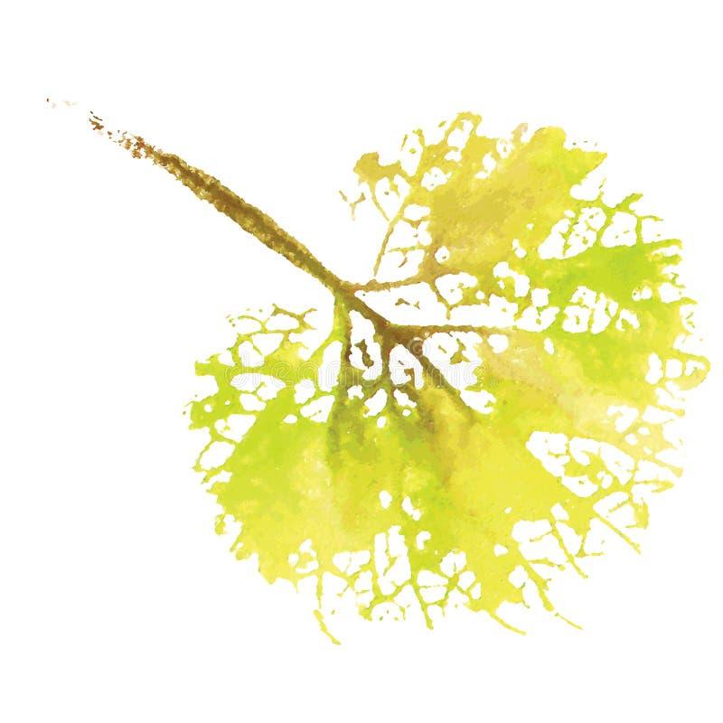 Naturligt blad för vattenfärg Eco logo, idérikt arbete Isolerat objekt på en vit bakgrund stock illustrationer