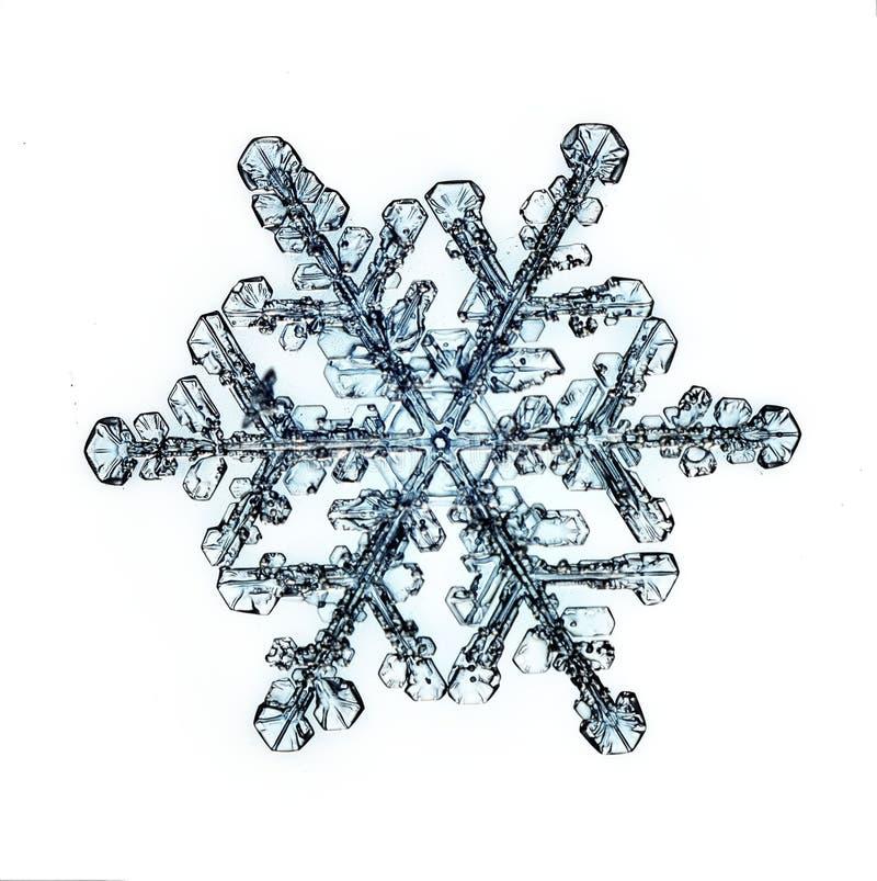 Naturligt crystal snöflingamakrostycke av is royaltyfri foto
