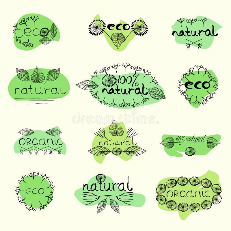Naturligt emblem för organisk eco royaltyfri illustrationer