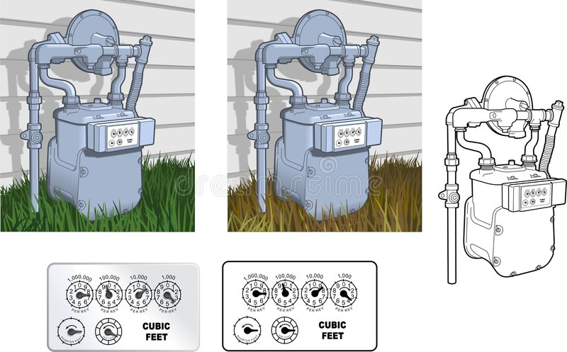 naturligt gasräkneverk vektor illustrationer
