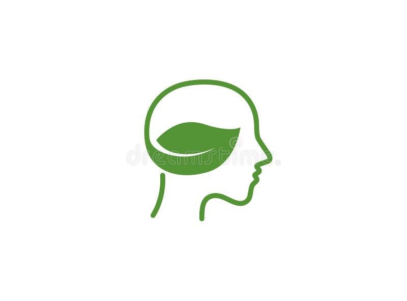 Naturligt grönt huvud och bio sund hjärna med bladet för logodesign vektor illustrationer