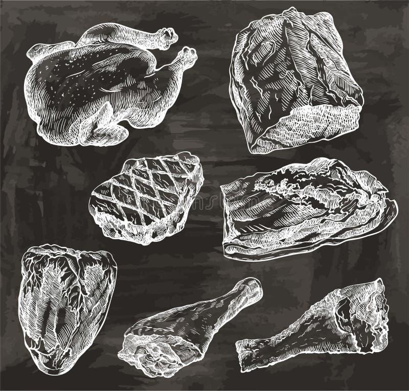 Naturligt kött höna _ pork mutton royaltyfri illustrationer