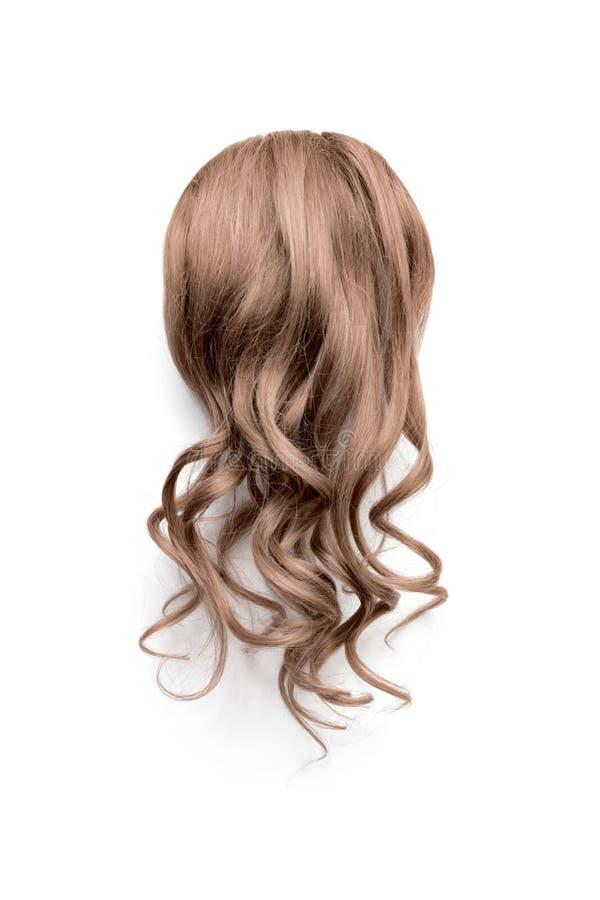 Naturligt krabbt brunt hår på vit bakgrund Kvinnas sikt för huvudbaksida arkivbilder