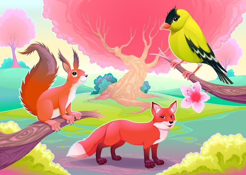 Naturligt landskap för fantasi med roliga djur royaltyfri illustrationer