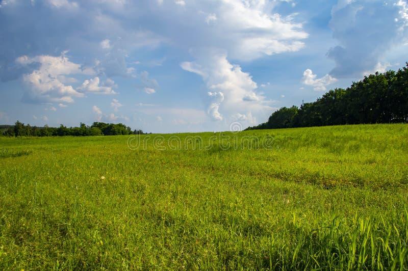 Naturligt landskap mot den blåa himlen med moln fotografering för bildbyråer