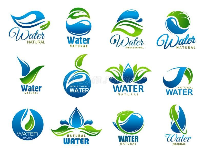 Naturligt och mineralvatten, vektorsymboler vektor illustrationer