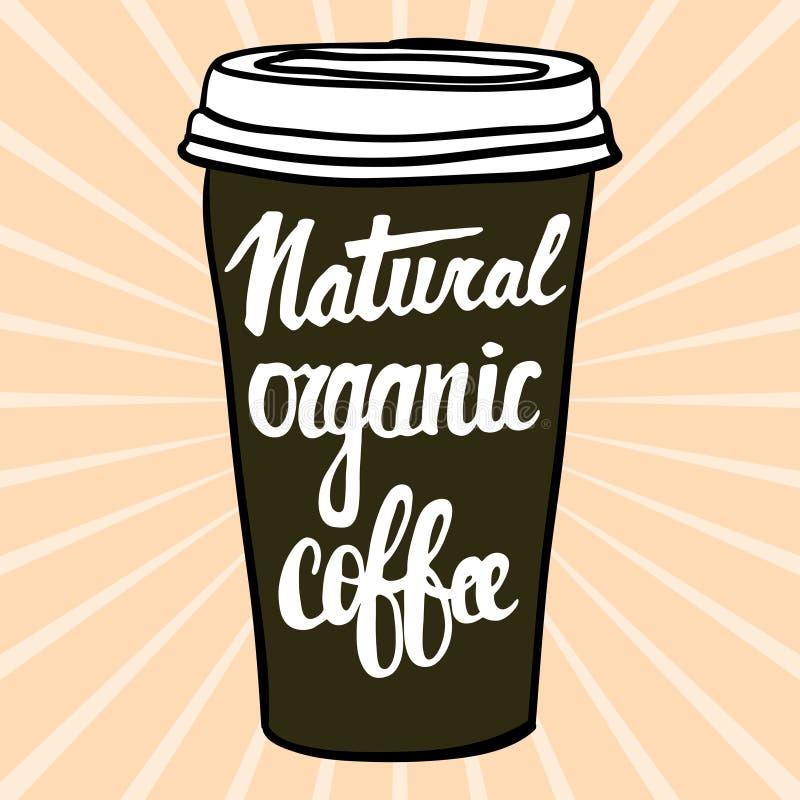 Naturligt organiskt kaffe Bokstäver på uppsättning för form för kaffekopp Modernt kalligrafistilcitationstecken om kaffe stock illustrationer