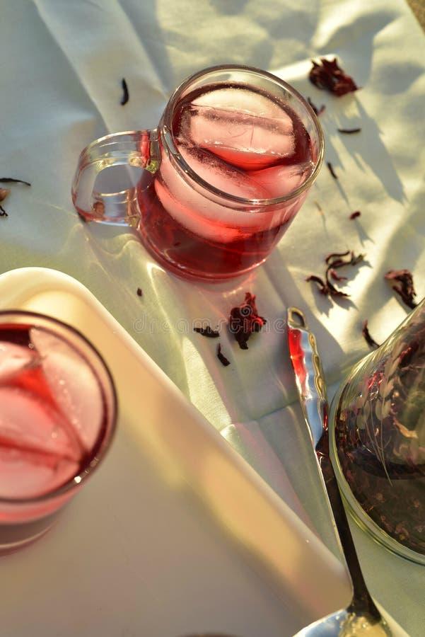 Naturligt rött iste som gjordes av hibiskusblommakronblad, kallade Fleur de Jamaica i Mexico royaltyfria bilder