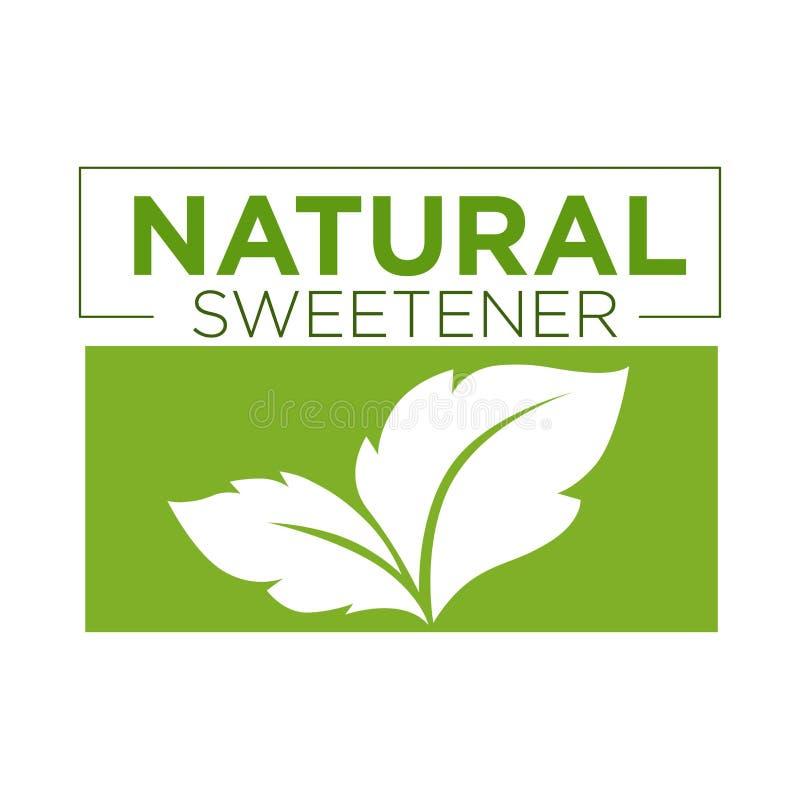 Naturligt sötningsmedelgräsplansymbol av stevia eller logoen för sött gräs royaltyfri illustrationer