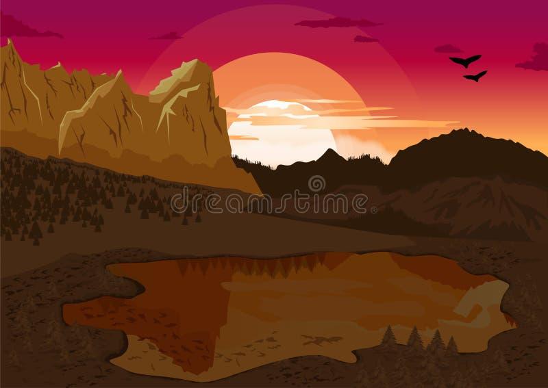 Naturligt sommarlandskap med bergsjön och konturn av fåglarna på gryning royaltyfri illustrationer