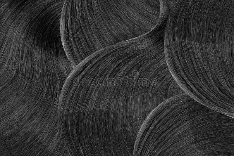 Naturligt svart hår som abstrakt bakgrund Hög upplösning fotografering för bildbyråer