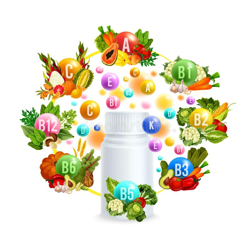 Naturligt vitamin med sund mataffischdesign stock illustrationer