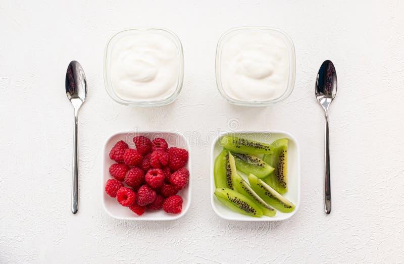 Naturligt yoghurt med färska hallon och kiwi arkivfoto