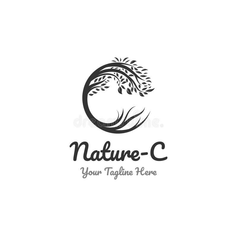 Naturlogodesigner och c-symbol vektor illustrationer
