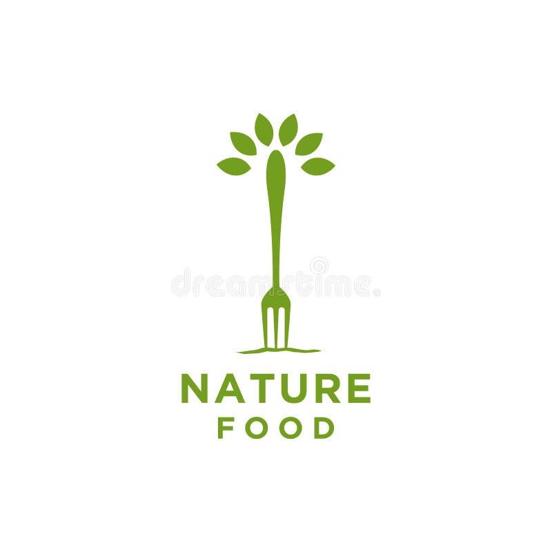 Naturmatlogo eller restauranglogo med gaffel- och bladsymbol vektor illustrationer