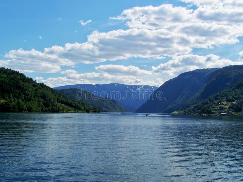 NaturNorge sommar Vatten skogfjord på en solig dag arkivbild