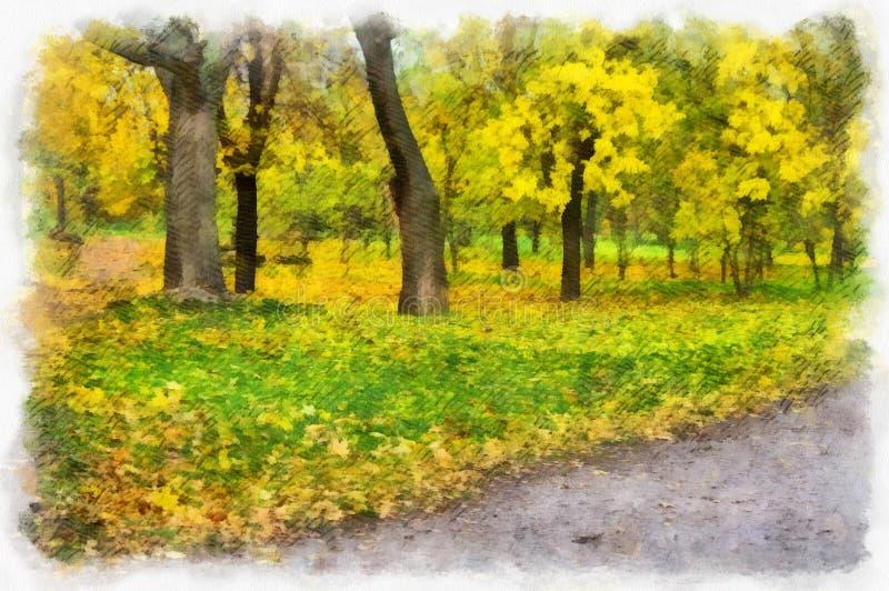 Naturpark des Herbsthintergrundes schöner bunter Waldlandschaftsmit Bäumen im Muster der künstlerischen Art des Aquarells lizenzfreie abbildung