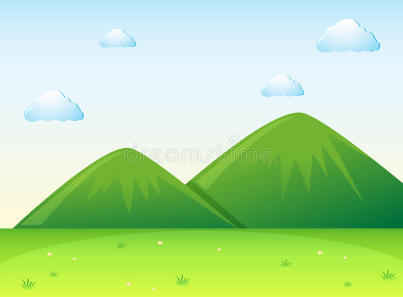 Naturplats med det gröna fältet och kullar vektor illustrationer