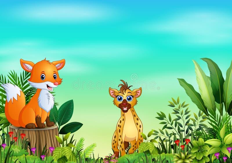 Naturplats med en räv som sitter på trädstubbe och hyena royaltyfri illustrationer