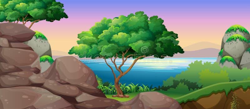 Download Naturplatsen Med Sjön Och Vaggar Vektor Illustrationer - Illustration av green, tree: 78730476