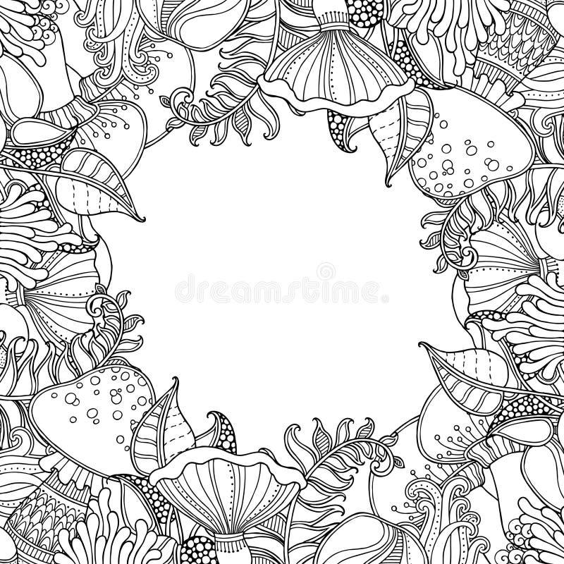 Naturramen med gräs, ormbunke, plocka svamp stock illustrationer