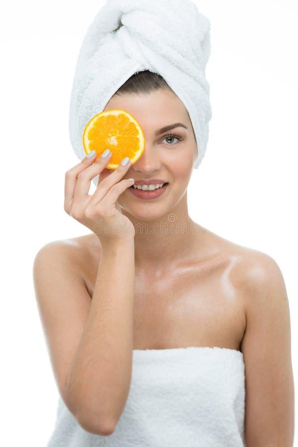 Naturschönheitsfrau mit Orange stockfoto