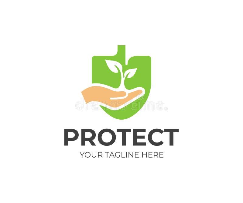 Naturschutz-Logoschablone Hand hält ein Sprösslingsvektordesign lizenzfreie abbildung