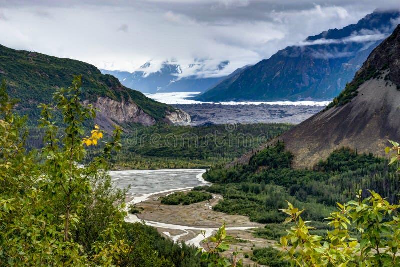 Natursikt över flodbädd i den Denali nationalparken i Alaska FN arkivfoton