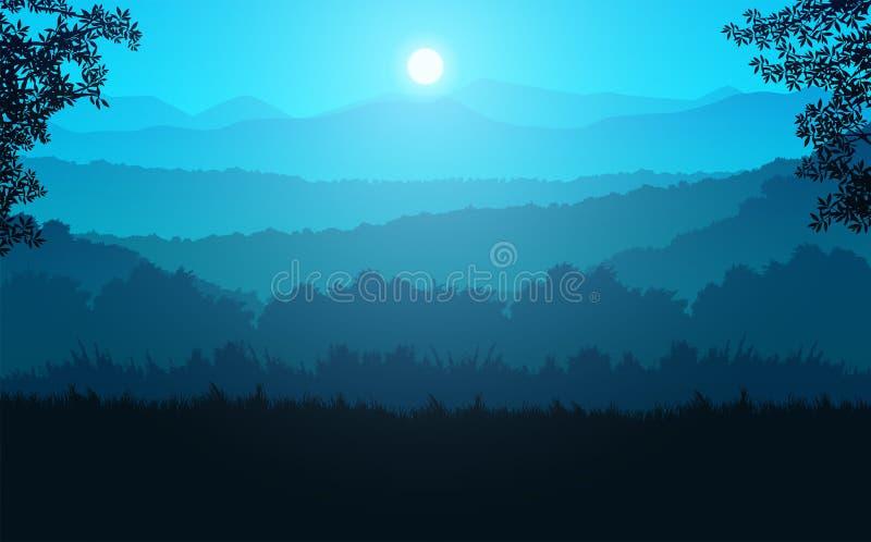 Naturskog Jungle green horizon tree Landscape wallpaper Sunrise och sunset Illustration vetor style: Colorful background stock illustrationer